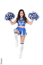 Sfondi desktop iStripper Sfondo bianco Uniforme Cheerleader Sorriso Ragazza capelli neri Le mani Gonna In posa Le gambe Gambaletti Ariana Van