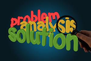 Desktop hintergrundbilder Text Englischer Bunte Lupe problem analysis solution