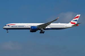 Bakgrundsbilder på skrivbordet Airbus Flygplan Passagerarplan Sidovy A350-1000, British Airways