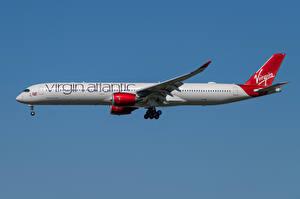 Bakgrundsbilder på skrivbordet Airbus Flygplan Passagerarplan Sidovy A350-1000, Virgin Atlantic Airways