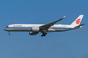 Bakgrundsbilder på skrivbordet Airbus Flygplan Passagerarplan Sidovy A350-900, Air China