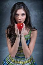 Wallpaper Apples Model Hands Glance Elle female
