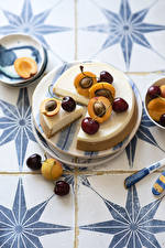 Bureaubladachtergronden Abrikoos Kers fruit Kaastaart Bord maaltijd Voedsel