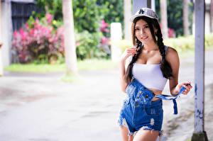 壁紙,亚洲人,棒球帽,辫子,姿勢,凝视,散景,女孩,