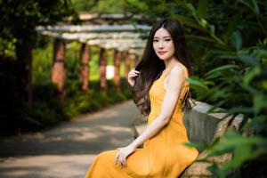 Hintergrundbilder Asiatisches Unscharfer Hintergrund Sitzend Kleid Hand Starren junge frau