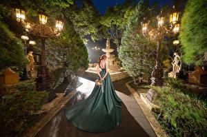 Картинка Азиаты Букет Платье Уличные фонари