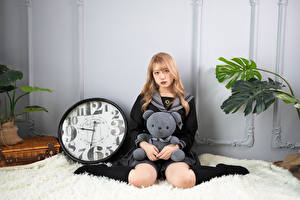 Wallpaper Asian Clock Teddy bear Pose Sitting Glance Knee highs Blonde girl young woman