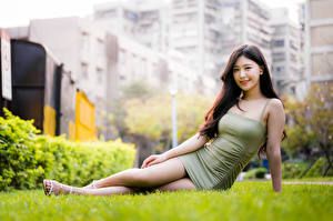 Pictures Asiatic Frock Grass Sit Glance Girls