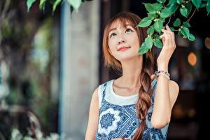 Hintergrundbilder Asiaten Hand Ast Bokeh Zopf junge frau