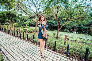 Bilder Asiatische Bein Kleid Starren