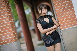 Bakgrundsbilder på skrivbordet Asiater Poserar Klänning Dekolletage Solfjäder Ser Unga_kvinnor