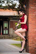 Bureaubladachtergronden Aziatisch Pose Jurk Benen Dames Hakken Brunette meisje Kijkt Jonge_vrouwen