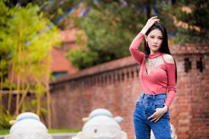 Bureaubladachtergronden Aziaten Pose Kijkt jonge vrouw