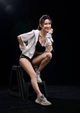 Wallpaper Asian Posing Sitting Legs Smile Staring Girls