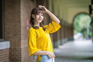 Bilder Asiatisches Lächeln Blick Mädchens