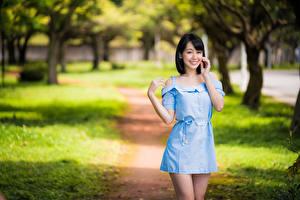 Wallpapers Asian Smile Posing Frock Staring Bokeh young woman