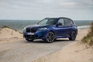 Hintergrundbilder BMW Crossover Blau 2021 X3 M Competition Worldwide automobil