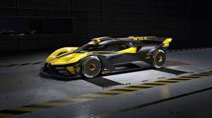 Bilder BUGATTI Seitlich Gelb Schwarz Karbon Bolide, 2022 Autos