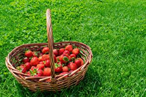 Desktop wallpapers Berry Strawberry Grass Wicker basket pictures images