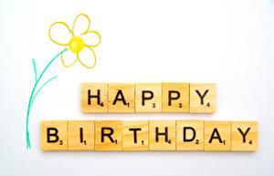 Fondos de escritorio Cumpleaños Tarjeta de felicitación de la plant Texto Inglés Fondo gris