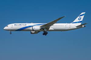 Bakgrundsbilder på skrivbordet Boeing Flygplan Passagerarplan Sidovy 787-9, El Al
