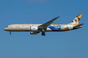 Bakgrundsbilder på skrivbordet Boeing Flygplan Passagerarplan Sidovy 787-9, Etihad Airways Luftfart