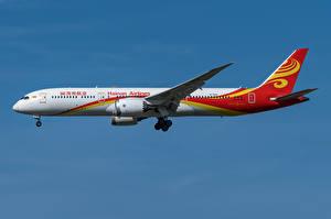 Bakgrundsbilder på skrivbordet Boeing Flygplan Passagerarplan Sidovy 787-9, Hainan Airlines Luftfart