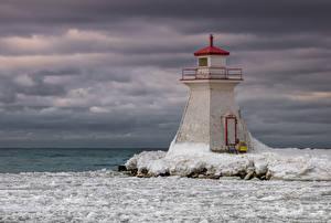 Sfondi desktop Canada Un faro Lago Il ghiaccio Lake Huron Natura