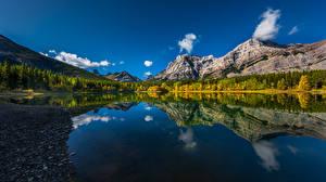 Sfondi desktop Canada Montagna Lago Riflessione Wedge Pond Natura