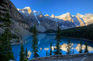 Wallpapers Canada Mountains Parks Lake Banff Moraine Lake Nature pictures images