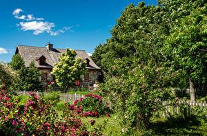 Fonds d'écran Canada Québec Bâtiment Jardins Arbrisseau Arbres Clôture Orleans Island