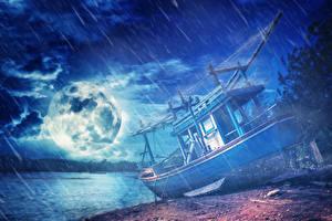 Sfondi desktop Litorale Pioggia Navi fluviali Notte Luna