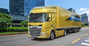 Hintergrundbilder DAF Trucks Lastkraftwagen Gelb  Autos