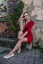 Bureaubladachtergronden Model Blond meisje Zittend Benen Jurk Kijkt Daria Jonge_vrouwen