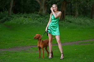 Bureaubladachtergronden Honden Pose Glimlach Benen Jurk Jodie Jonge_vrouwen Dieren