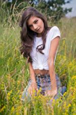 Hintergrundbilder Model Gras Sitzen T-Shirt Starren Elle Mädchens