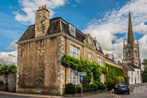 Bureaubladachtergronden Engeland Gebouwen Stadsstraat Lechlade Steden