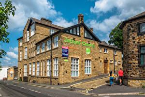 Hintergrundbilder England Gebäude Menschen Straße Bradford, Jubilee Centre