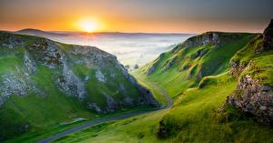 Wallpaper England Morning Mountain Sunrise and sunset Peak District