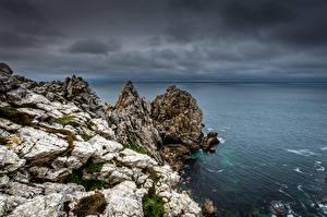 Bureaubladachtergronden Frankrijk De kust klif landform Bretagne