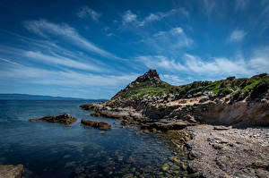 Bureaubladachtergronden Frankrijk De kust klif landform Corse Natuur