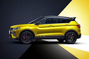 Hintergrundbilder Geely Softroader Seitlich Gelb Metallisch Chinesisches Bin Yue S 'Battle' (SX11), 2021 auto