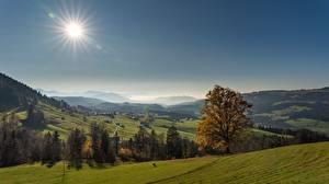 Sfondi desktop Germania Il prato Autunno Foreste Orizzonte La collina Il Sole  Natura
