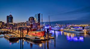 Sfondi desktop Germania Amburgo Molo Navi fluviali Edificio