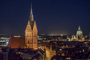Bakgrunnsbilder Tyskland Bygninger Kirke Natt Hannover, Marktkirche