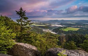 Bakgrunnsbilder Tyskland Landskap Stein Trær Skyer Saxony Natur