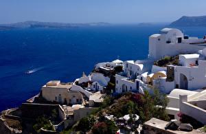 Bureaubladachtergronden Griekenland Thera Gebouw De zee een stad