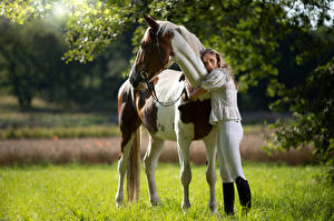 Bilder Hauspferd Umarmung Blick Marion and Epalino junge Frauen Tiere