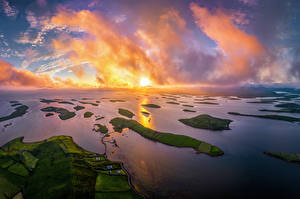 Images Ireland Coast Sunrises and sunsets From above Clouds Westport Nature
