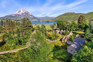 Hintergrundbilder Irland Berg Bäume Dorf Dunlewey Städte